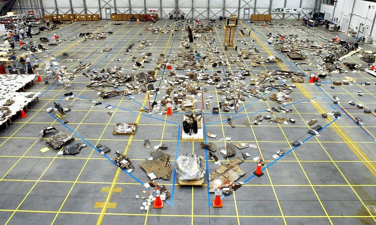 Recovered debris from the Columbia space shuttle.