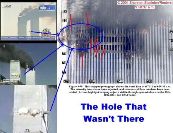 Stanley Kubrick - avoue avoir filmé le faux atterrissage d'Apollo 11 sur la lune - Confirmation Chinoise ! - Page 2 911-north-tower-the-hole-that-wasnt-there
